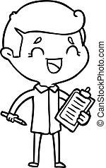 dessin animé, homme, rire, attachez comité