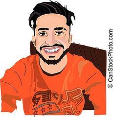 dessin animé, homme, sourire, grand