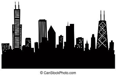 dessin animé, horizon, chicago