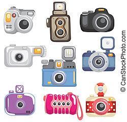 dessin animé, icône, appareil photo