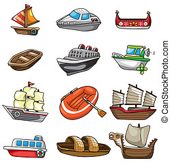 dessin animé, icône, bateau