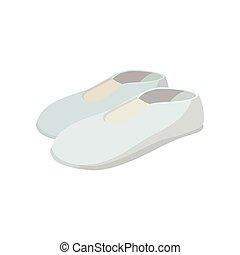 dessin animé, icône, chaussures, blanc