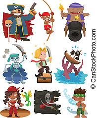 dessin animé, icône, ensemble, pirate