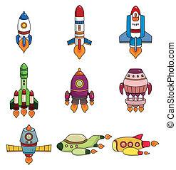 dessin animé, icône, ensemble, vaisseau spatial