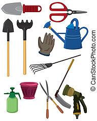 dessin animé, icône, jardinage