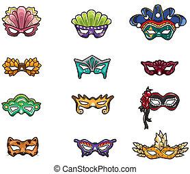 dessin animé, icône, masque, fête