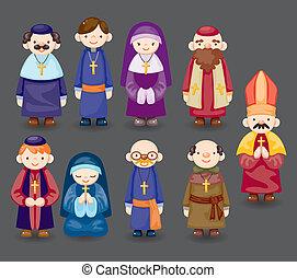 dessin animé, icône, prêtre