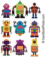 dessin animé, icône, robot, couleur