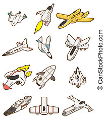 dessin animé, icône, vaisseau spatial