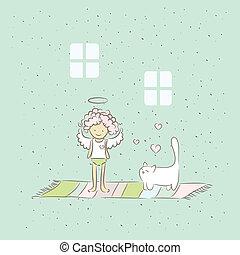 dessin animé, illustration, ange, chat