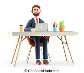 dessin animé, isolé, ordinateur portable, white., utilisation, fonctionnement, lieu travail, illustration, sourire, bureau, heureux, moderne, bureau., barbu, homme affaires, travailleur indépendant, homme, concept., 3d, ou, mignon