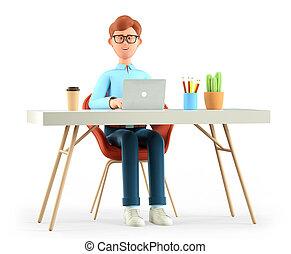 dessin animé, isolé, ordinateur portable, white., utilisation, fonctionnement, lieu travail, sourire, illustration, bureau, heureux, moderne, bureau., homme affaires, travailleur indépendant, homme, concept., 3d, ou, mignon