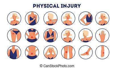 dessin animé, isolé, style, injury., ensemble, corps, vecteur, illustration, physique