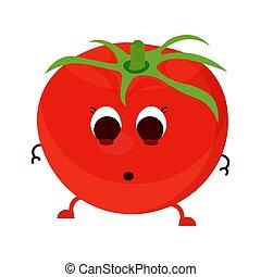 dessin animé, isolé, tomate