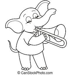 dessin animé, jouer, trombone, éléphant