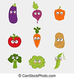 dessin animé, légume, mignon