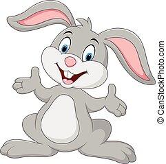 dessin animé, lapin, poser, mignon