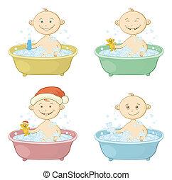 dessin animé, lavage, enfants, bain