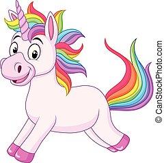 dessin animé, licorne, arc-en-ciel, cheval