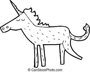 dessin animé, licorne