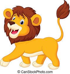 dessin animé, lion, marche
