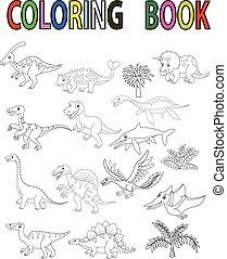 dessin animé, livre, dinosaure, coloration