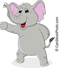 dessin animé, main, onduler, éléphant