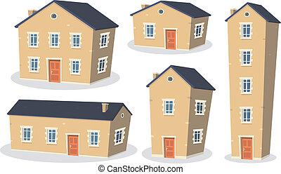 dessin animé, maison, ensemble