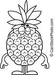 dessin animé, malade, ananas