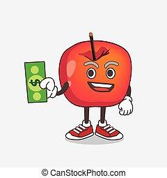 dessin animé, mascotte, argent, pomme, crabe, caractère, dollar, donner