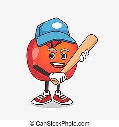 dessin animé, mascotte, jouer, pomme, crabe, caractère, base-ball
