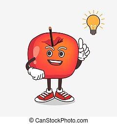 dessin animé, mascotte, obtenir, idée, pomme, crabe, caractère