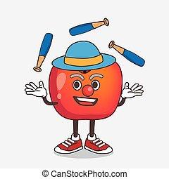 dessin animé, mascotte, pomme, crabe, caractère, jonglerie, jeu