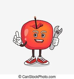 dessin animé, mascotte, pomme, crabe, caractère, mécanicien, heureux