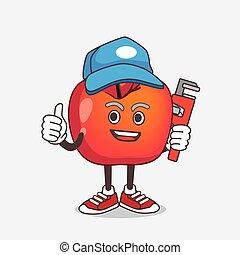 dessin animé, mascotte, pomme, crabe, caractère, plombier, heureux