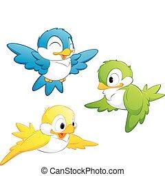 dessin animé, mignon, oiseaux