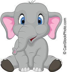 dessin animé, mignon, séance, éléphant