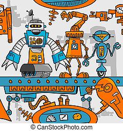 dessin animé, modèle, seamless, robots