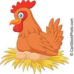dessin animé, nid, ruminer, poule