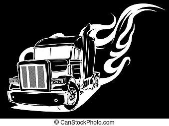 dessin animé, noir, semi, vecteur, fond, camion, illustration