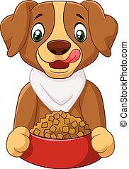dessin animé, nourriture, chien, affamé