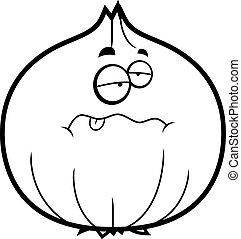 dessin animé, oignon, malade