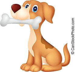dessin animé, os, mignon, chien