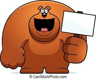 dessin animé, ours, signe