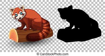 dessin animé, panda, sien, caractère, rouges, silhouette
