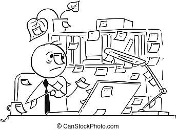 dessin animé, partout, illustration, bureau, autour de, crosse, notes, ouvrier