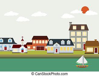 dessin animé, -, paysage, vecteur, ville