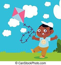 dessin animé, peu, enfants jouer, yard, garçon, cerf volant