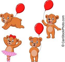 dessin animé, peu, ours, collection, ensemble
