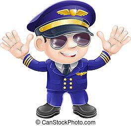 dessin animé, pilote avion